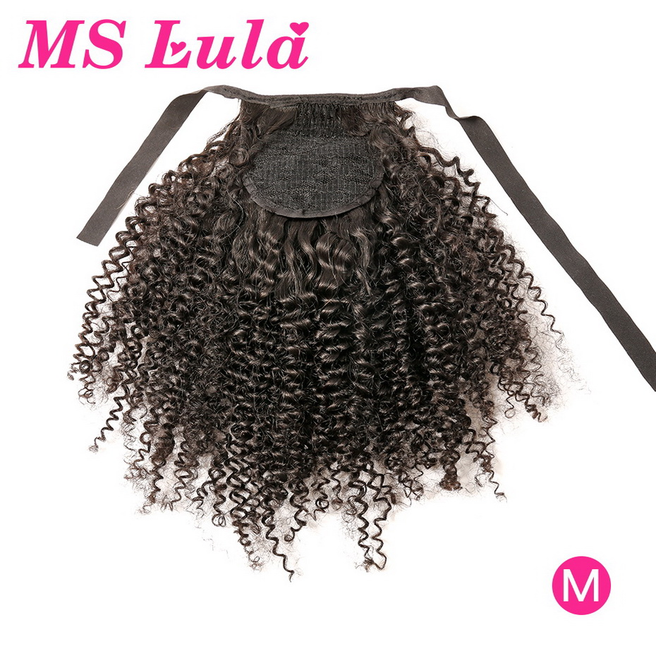Mslula Afro Kinky Curly Ponytail Clip In Extensions 10-30 Inchs Middle Ratio Brazilian Remy Human Hair Natural Color For Black