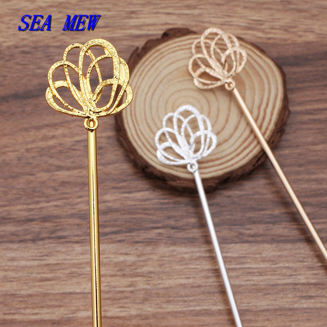 10PCS 120mm Vintage Metal Hair Sticks Gold/Silver Color Hair Pins For Women Headwear Decoration DIY Jewelry Making