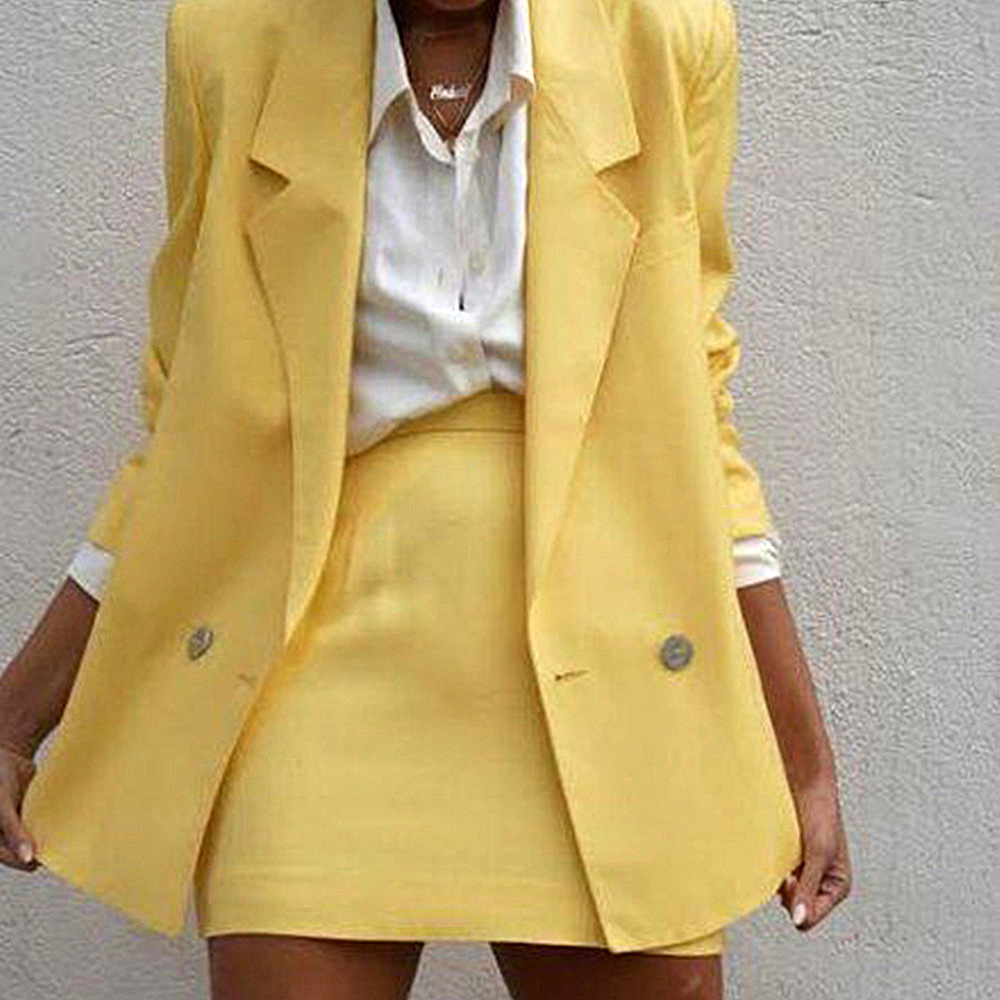 Two Piece Set Lady Casual Blazer + Mini Skirt Clothing Set Women Spring Autumn 2019 New Female Office OL Outfits Workwear D25