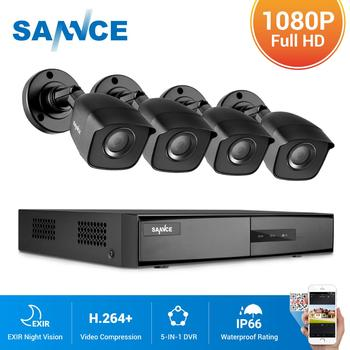 SANNCE 4CH 1080P Lite Video Security System 1080N 5IN1 HDMI DVR With 2X 4X Outdoor Waterproof Camera Home Surveillance CCTV Kit цена 2017
