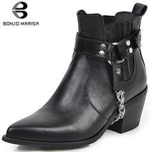 BONJOMARISA New Dropship Plus Size 33-48 Cowboy Booties Ladies Pointed Toe Ankle Western Boots Women 2019 High Heels Shoes Woman