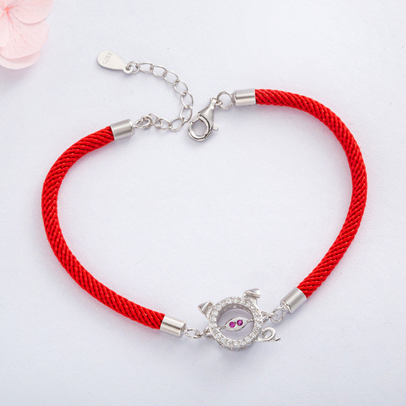 925 sterling silver Hand catenary The red rope pig Women 39 s fashion joker jewelry wholesale in Charm Bracelets from Jewelry amp Accessories