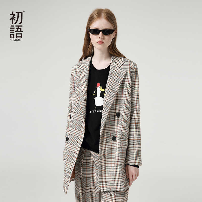 Toyouth Office Lady Houndstooth Blazer Fashion Single-Breasted Suit Jacket Autumn Outerwear Blazers Women