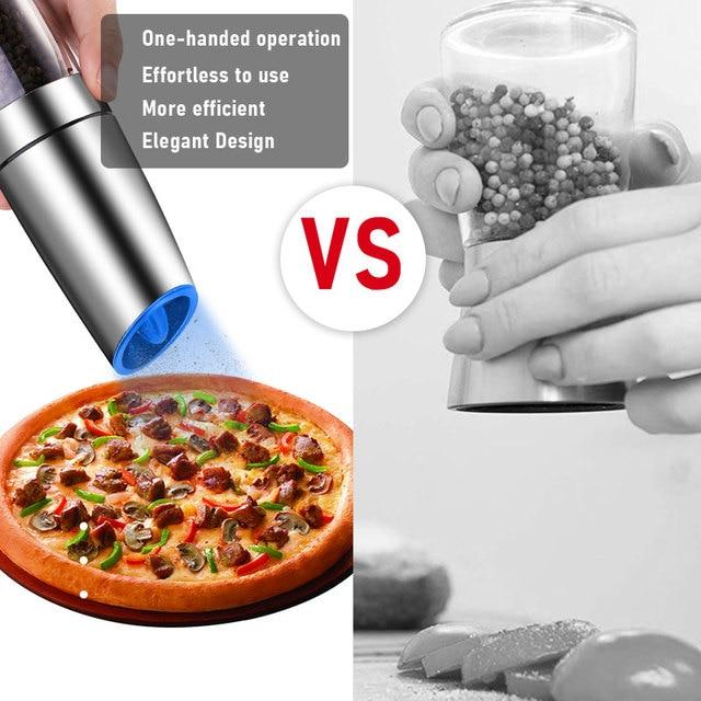DEKO Electric Pepper Mill Gravity Induction Stainless Steel Salt Spice Grinder LED Light Kitchen Tool 3