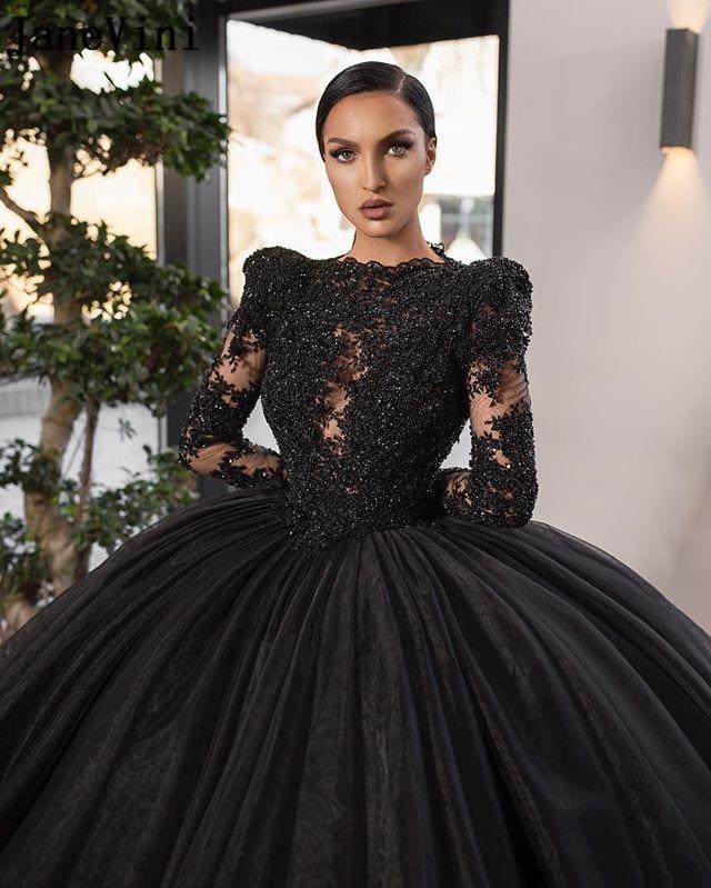 JaneVini Sparkle Heavy Beading Black Quinceanera Dresses 2020 Luxury Saudi Arabia Long Sleeves Tiered Skirt Ball Gown Prom Dress