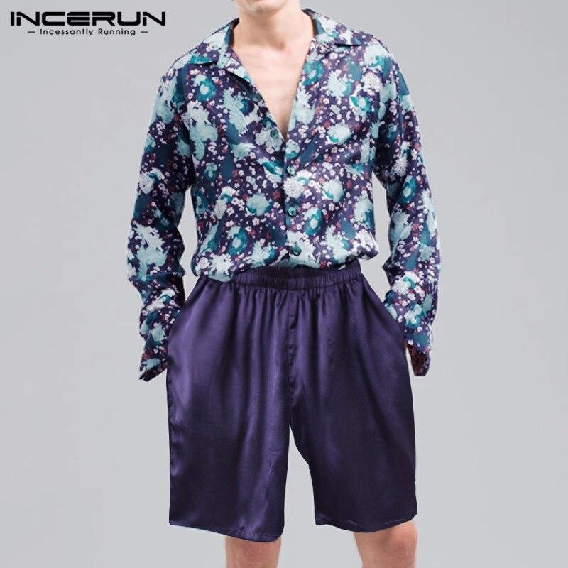 INCERUN Fashion Men Hawaiian Sets Long Sleeve Lapel Printing Shirt & Solid Shorts Streetwear Loose Cozy Casual Men Suit 2 Pieces