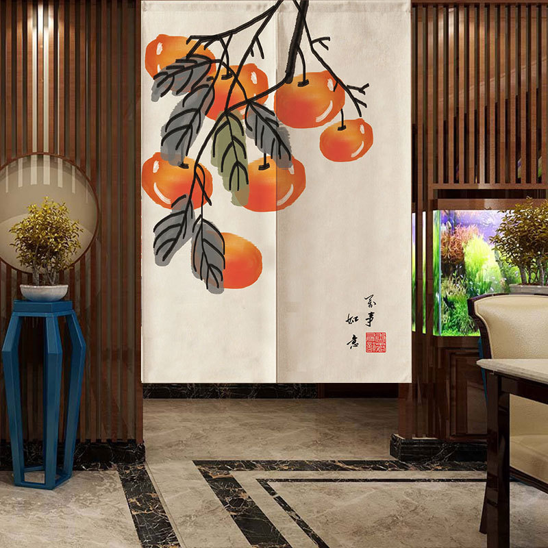 New Chinese Landscape Door Curtain Partition Curtain Kitchen Half Curtain Feng Shui Door Curtain Japanese Noren