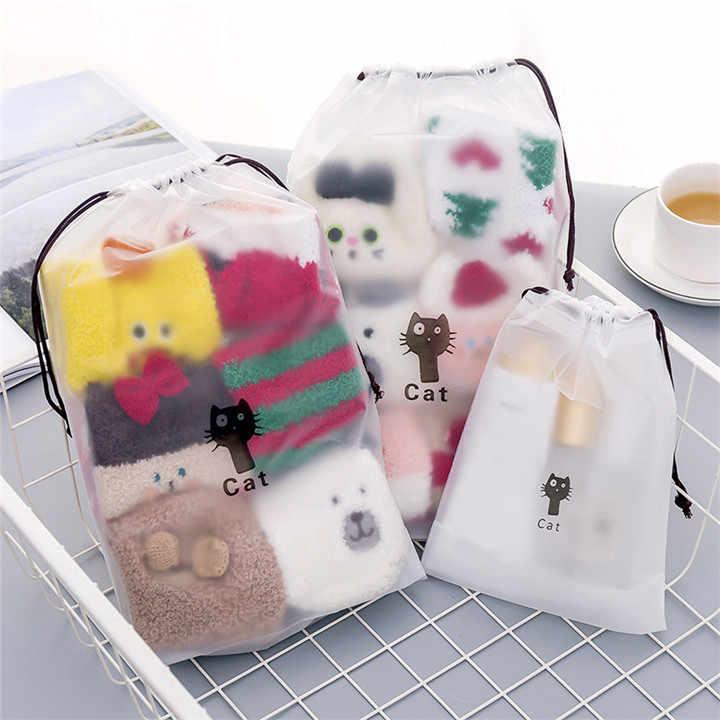 TTLIFE Transparent Cartoon Cat Drawstring Clothes Storage Bag Animal Cosmetic Bag Toiletry Women Wash Kit Travel Organizer Pouch