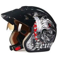 Casco de motocicleta ZEUS Vintage con lentes de visera Anti-UV Retro de cara abierta Moto Scooter Moto Cascos de Moto DOT