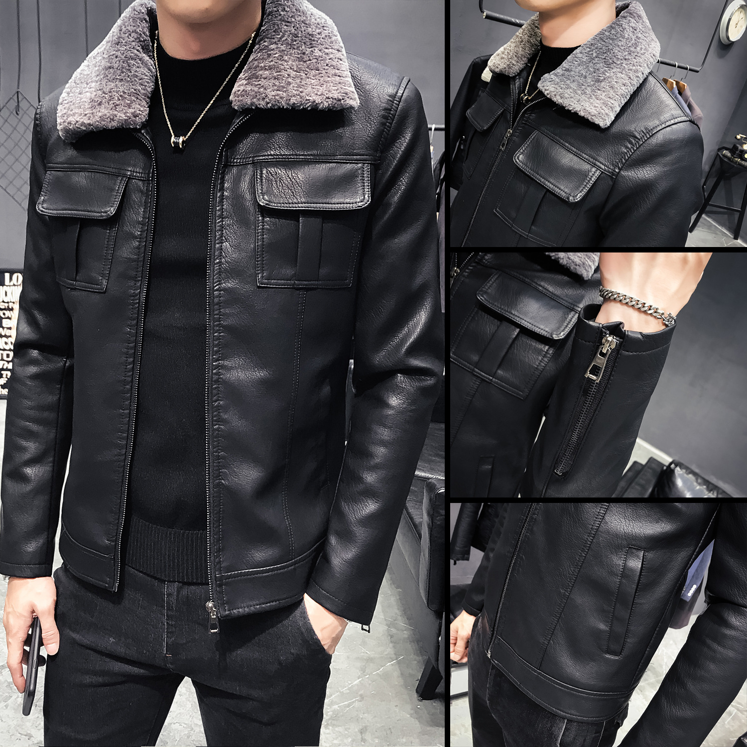 2019 Autumn And Winter New Style Men Thick Warm Washing Leather Coat Detachable Collar Coat Youth Slim Fit PU Leather Coat