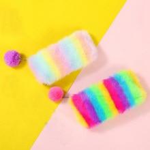 Cute Rainbow Plush Pencil Case School Pencil Case for Girls   Pencilcase Kawaii Pencil Box Bag School Supplies Cosmetic Bag Tool недорого