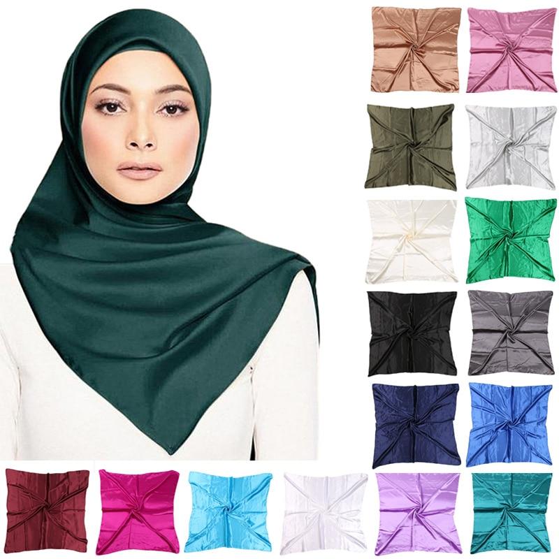 White Black Women Square Silk Scarf Wraps Autumn Winter Sjaal Luxury Large Satin Scarves Muslim Head Scarf 90*90cm(China)