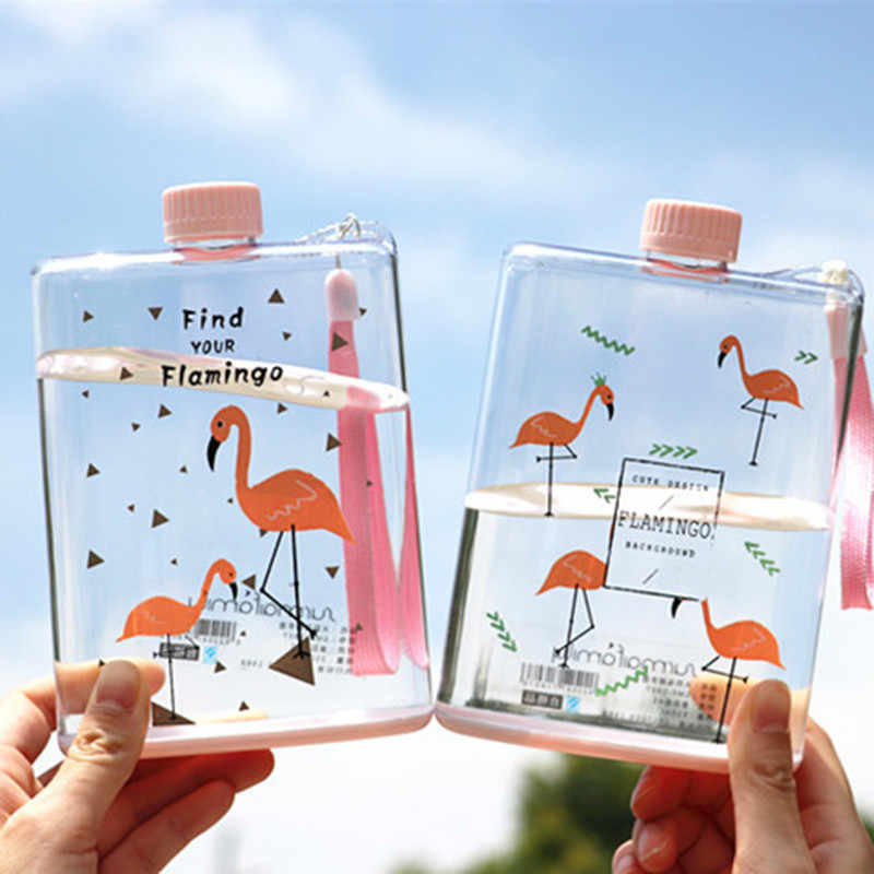 Flamingo Water Bottle Portable Flat Kettle Sport Drinking Bottle Travel Camping Hiking Drinkware My Drink Bottle 350ml 1pc