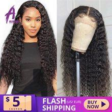 13x4 бразильские волосы, глубокая волна, фронтальные парики 8 24 Glueless вьющиеся человеческие волосы парики Alimice Remy для черных женщин