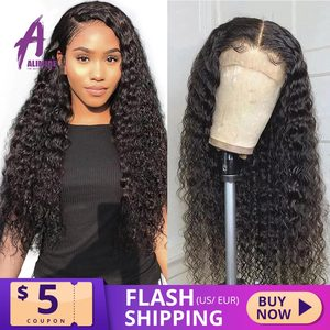 Image 1 - 13x4 Brazilian Hair Deep Wave Lace Front Wigs 8 24 Glueless Curly Lace Front Human Hair Wigs Alimice Remy Wig For Black Women