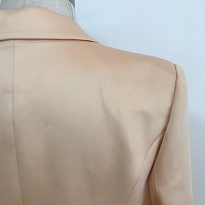 Image 5 - Hoge Kwaliteit 2020 Nieuwste Designer Blazer Vrouwen Dubbele Breasted Leeuw Knoppen Satijn Blazer Jacket Champagne