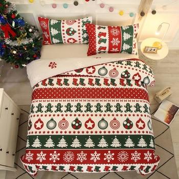 3pcs Hot Christmas Bedding Set Snowflakes Christmas Tree Elk Home Bedding Sets Duvet Cover Warm Bed Sheet Set Hotel Decoration