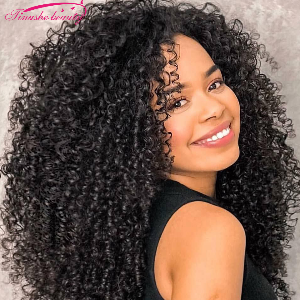 Tinashe Beauty Kinky Curly Lace Closure Human Hair Wig Brazilian Curly Wave Middle Part Wig Preplucked For Women Natural Color