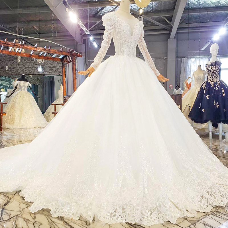HTL1821 Luxurious Sequined Beading Crystal Fiowers White Wedding Dress 2020 V-Neck Long Sleeve Ball Gowns 3