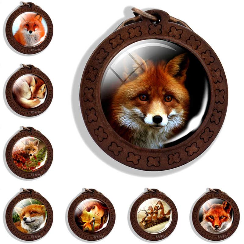 Fox chaveiro chaveiros Animais Fox pingente keychain Animal de madeira Pingentes de jóias Animal chaves Do Vintage cabochon de vidro Acessórios