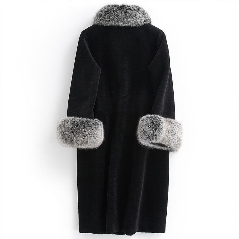 Sheep Winter Women Shearling Fur Coat Natural Fox Fur Collar Long Warm Real Fur Coats Genuine Wool Jackets R17F32279B S