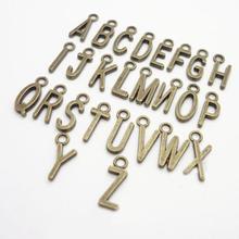 26 шт. античный Алфавит, A-Z, буквы, металлические подвески, сделай сам, фурнитура для ювелирных изделий, аксессуары, БУКВЕННОЕ украшение, рукоделие, украшения