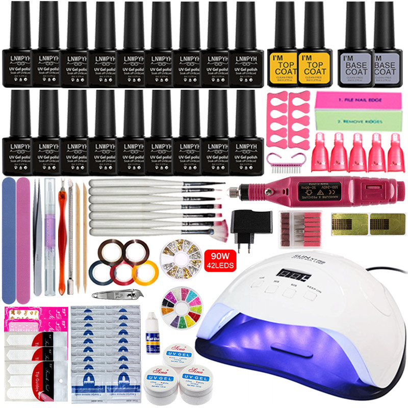 Nail Set 80W UV LED Lamp For Manicure 18pcs Gel Nail Polish Set Kit Soak Off Gel Varnish For Nail Art Set Dryer Machine Tools