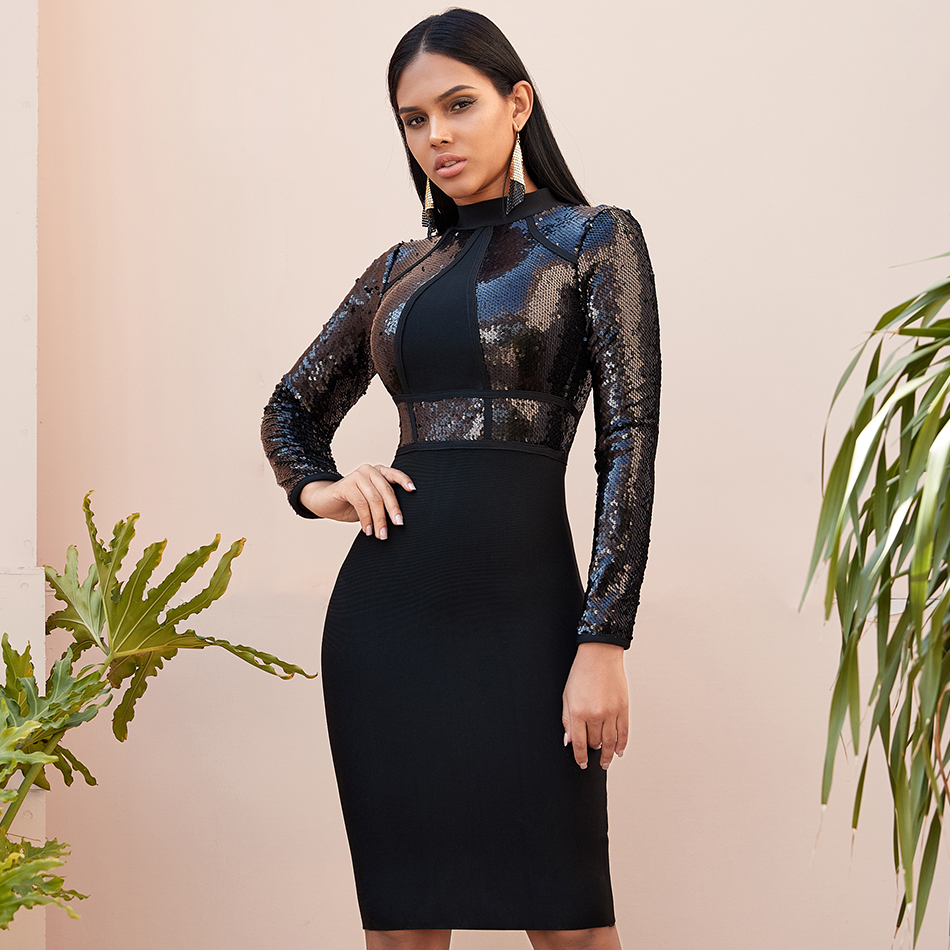 2019 Winter Long Sleeve Sequined Women Bandage Bodycon Dress Spring New Sexy Celebrity Evening Midi Dresses Night Party Vestidos