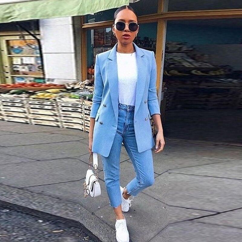 Hot Sale Elegant Solid Color Blazer Fashion Pocket Coat Casual Loose Tops New Autumn Women Suit For Women