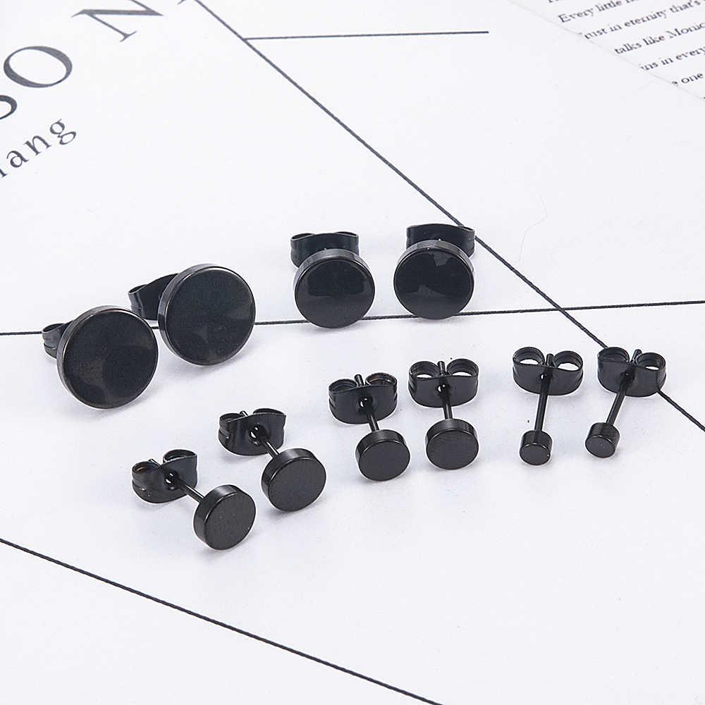 موضة النساء الرجال الأسود الجولة الفولاذ المقاوم للصدأ بسيطة الأذن ترصيع الأقراط 5 حجم فاسق القرط مجوهرات