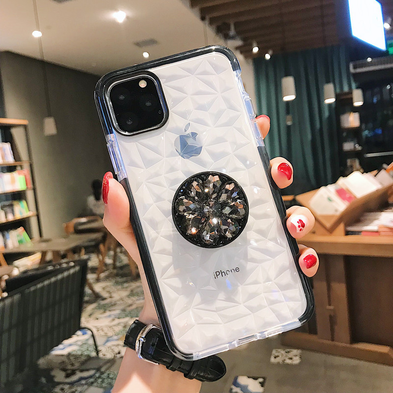 DIY CZ Diamond Stand Holder Phone Case For Samsung A10 A20 A30 A50 A70 M10 M20 M30 A40S Note10plus S7edge Soft TPU Crystal Cover