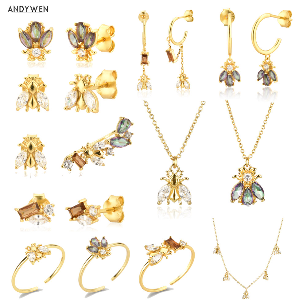 ANDYWEN 925 Sterling Silver 2021 Winter Bee Collection Gems Tiny Piercing Drop Animal Pendant Jewelry Climber Clips Women Jewels