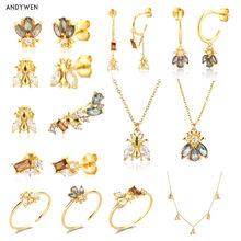ANDYWEN 925 de plata de ley 2021 de invierno de colección de gemas pequeño Piercing gota pendientes de animales joyería escalador Clips joyas mujeres