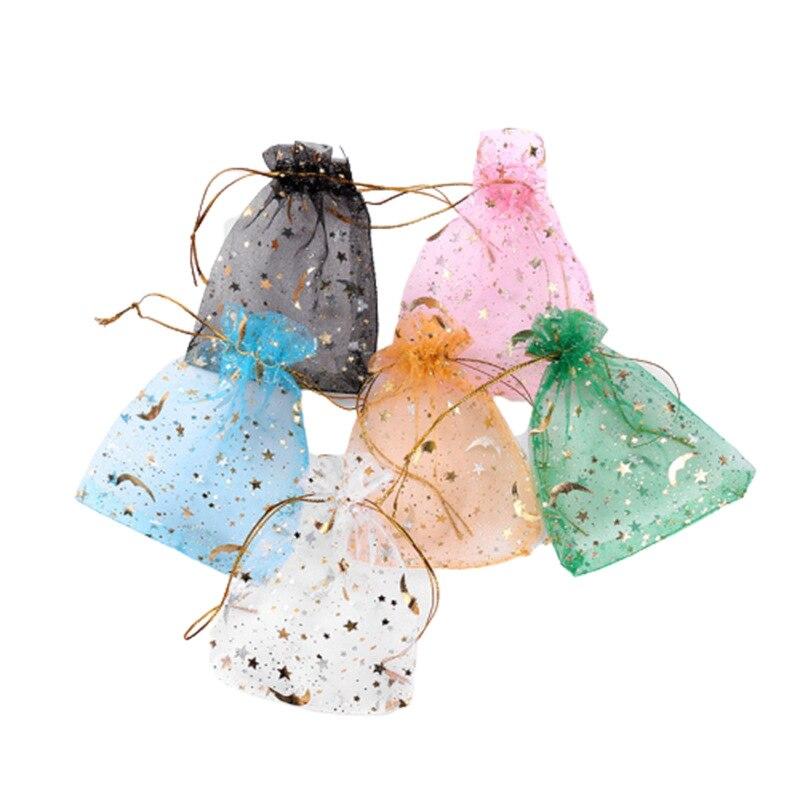 100 шт./пакет Moon Star сумки из органзы 7x9 9x12 см, Маленькая рождественская Подарочная сумка на шнурке, амулетные сумки и сумки для упаковки ювелир...