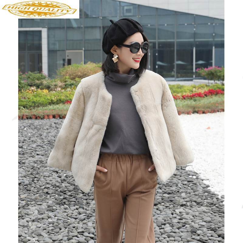 Real Rex Rabbit Fur Coat Female Jacket 2020 Winter Jacket Women Natural Fur Korean Vintage Jackets Chaqueta Mujer MY3550