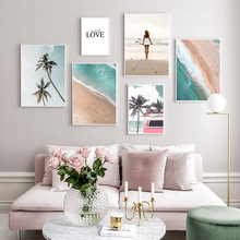 Landscape Posters And Prints Coconut Palm Tree Beach Car Girl Wall Art Canvas Painting Quotes Picture Home Decorative