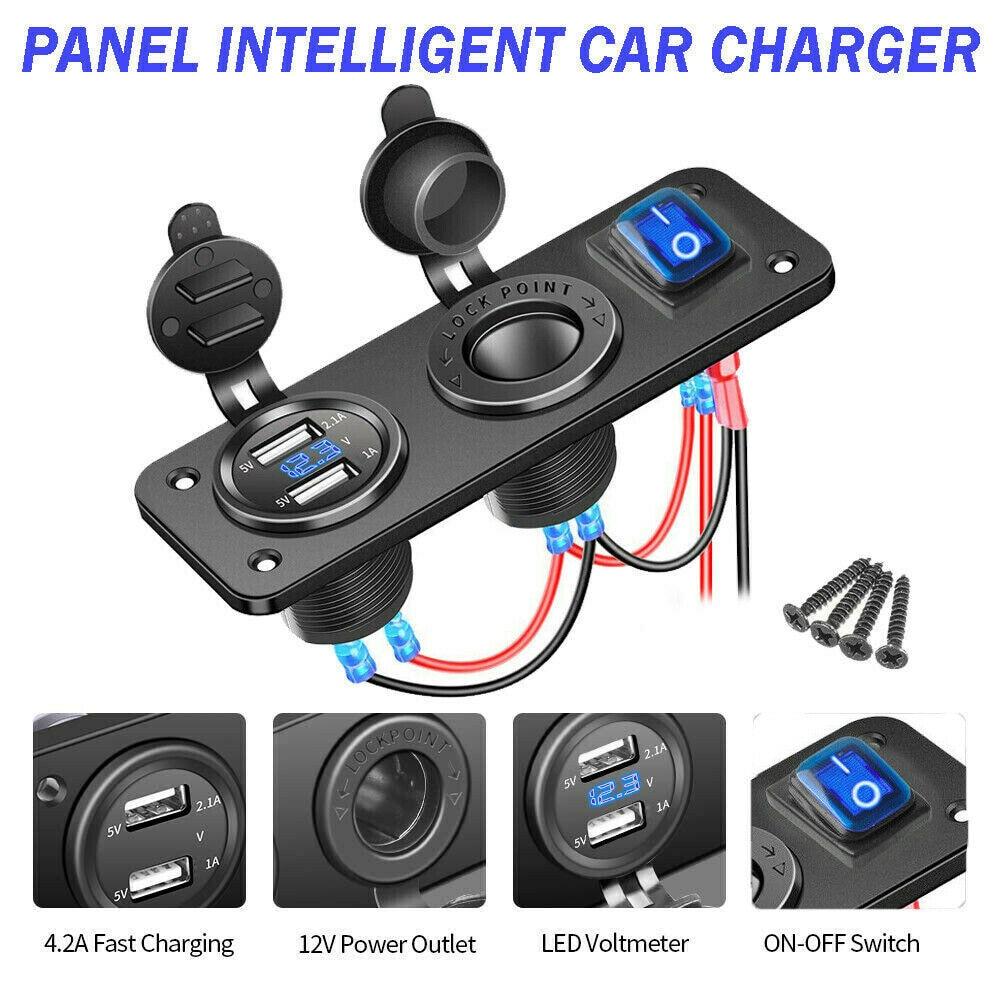Купить с кэшбэком Boat Marine Dual USB Charger LED Voltmeter 12V Power Socket On-Off Switch Panel Black Marine Dual USB Charger Boat Accessories