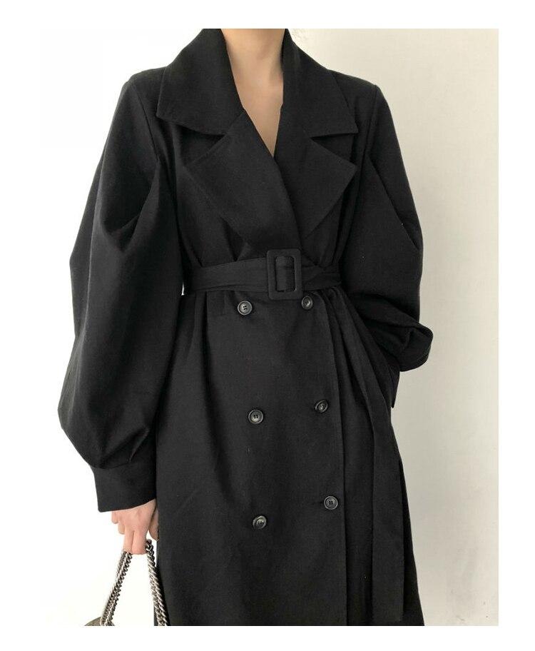 Windbreaker Women Trench Coat Belt Waist 19 Autumn Double Breated Oversize Long Coat Lady Streetwear Korean Outwear 11