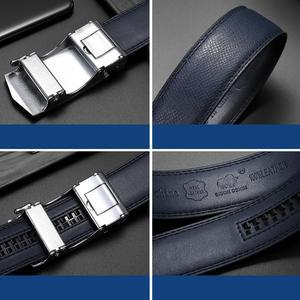 Image 5 - بيسون الدينيم جلد أصلي للرجال حزام سبيكة التلقائي مشبك فاخر الطبقة الأولى جلد البقر والجلود حزام الأزرق حزام للذكور N71511