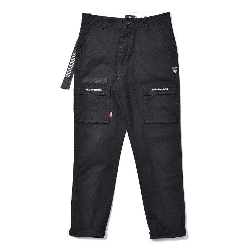 2017 MEN'S Casual Pants Origional Brand Men Multi-pockets Bib Overall Drawstring Top Suo Jiao Long Pants 9 Pants Fashion