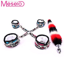 Meselo Snake Skin Pattern Faux Tail Anal Plug Ankle Cuff Handcuff Sex Toys For Woman&Couples Harness Bondage Set Sex Games