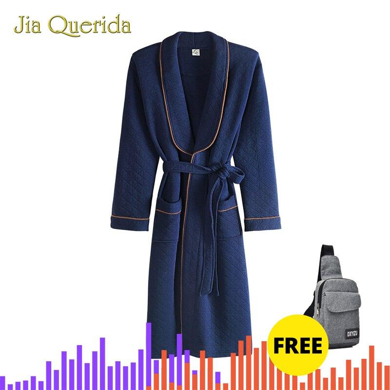 Mens Home Clothing Winter Warm Pajama High Quality Double Side 100% Cotton Kimono Lapel Royal Blue Diamond Pattern Mens Bathrobe