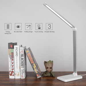 Image 1 - 52 LEDs Desk Lamp Dimmable Office Table Lamp With USB Charging Port Touch Control 6W 3 Light Colors 1 Hour Auto Timer Aluminum