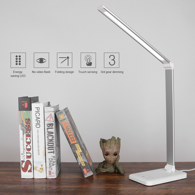 52 led 책상 램프 디 밍이 가능한 사무실 테이블 램프 USB 충전 포트 터치 컨트롤 6W 3 빛 색상 1 시간 자동 타이머 알루미늄