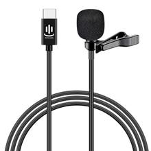 Besegad מיני קליפ על Lavalier דש מיקרופון Microfon מיקרופון עם USB סוג C ממשק וידאו צ אט קולי הקלטת ראיון