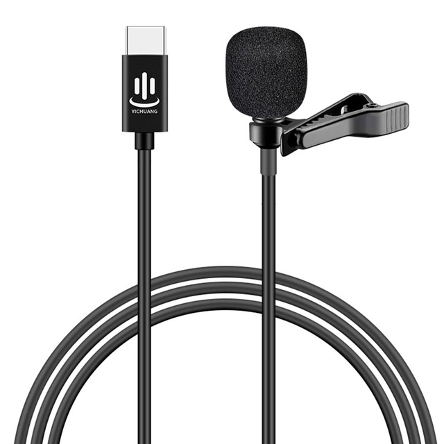 Besegad Mini Clip on Lavalier Lapel Microphone Microfon Mic with USB Type C Interface for Voice Chat Video Recording Interview