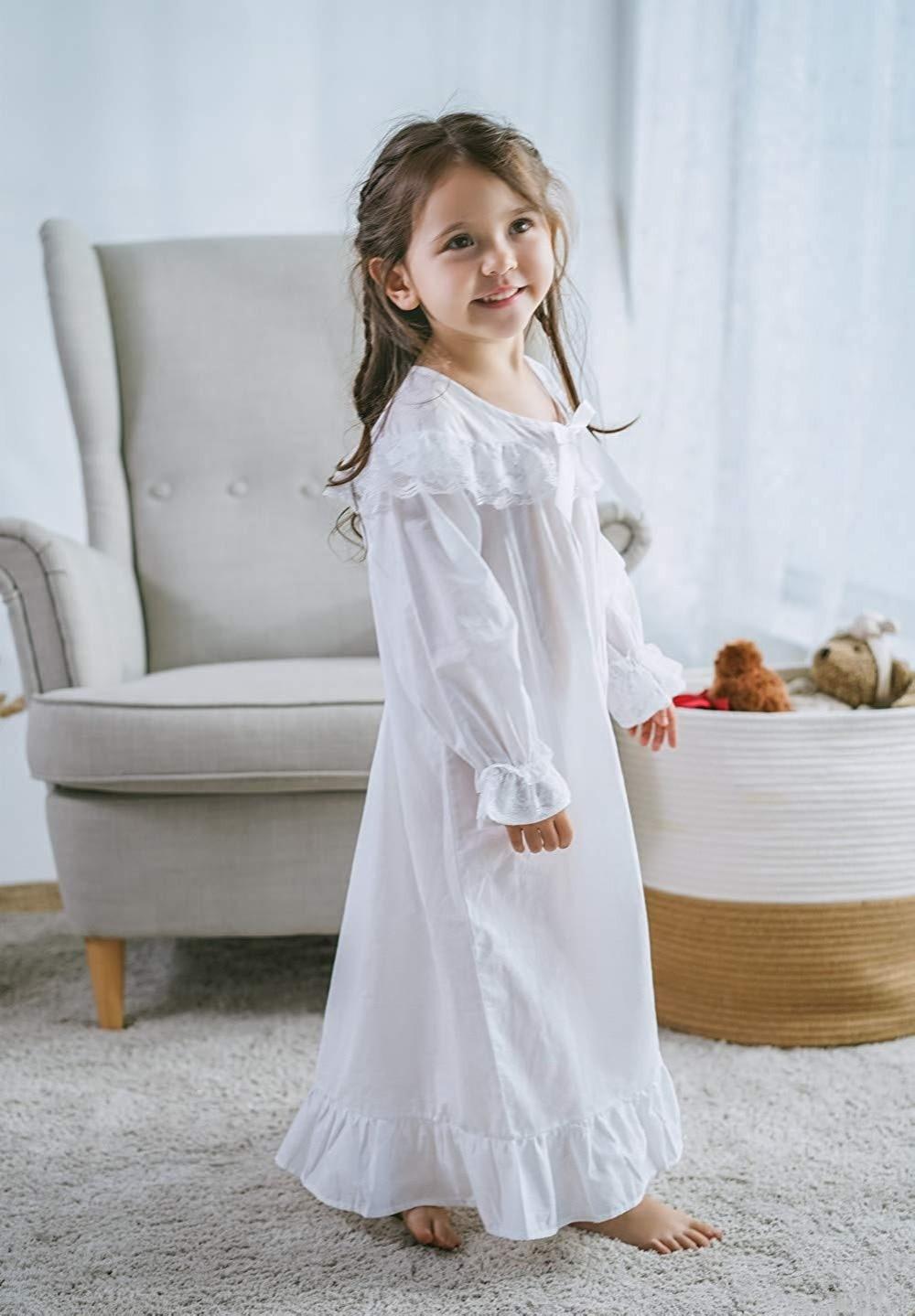 Baby Girl Clothes Princess Nightgown Long Sleeve Sleep Shirts Nightshirts Pajamas Christmas Dress Sleepwear kids for 3-12 Years (6)