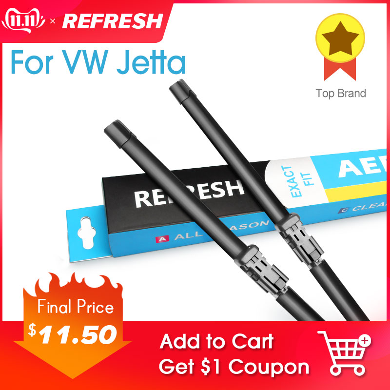 REFRESH Windscreen Wiper Blades for Volkswagen VW Passat B5 B6 B7 B8 Fit Side Pin / Push Button Arm Model Year from 2002 to 2019-in Windscreen Wipers from Automobiles & Motorcycles