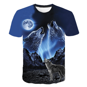 Summer T shirt Men Streetwear Round Neck Short Sleeve Tees Tops Funny Animal Male Clothes Casual Wolf 3D Print Tshirt(China)