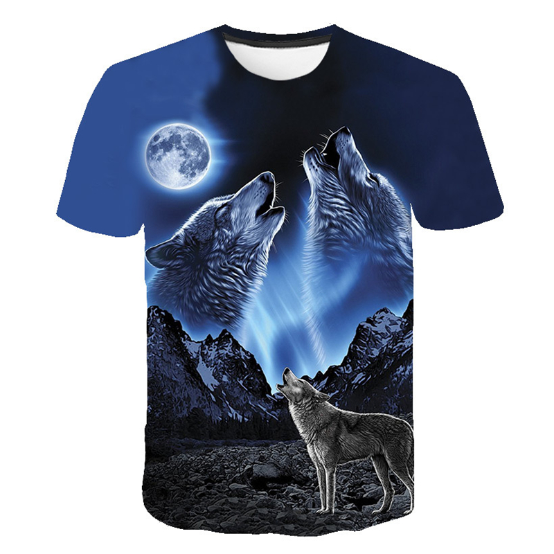 Summer   T     shirt   Men Streetwear Round Neck Short Sleeve Tees Tops Funny Animal Male Clothes Casual Wolf 3D Print Tshirt